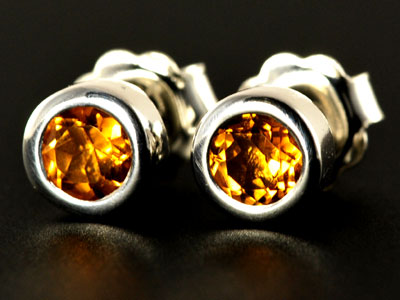 Stunning, handmade gem quality citrine studs set in pure silver.