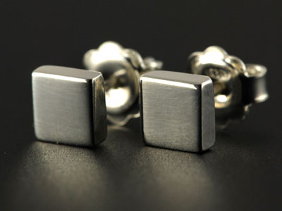 Handmade chunky square stud earrings