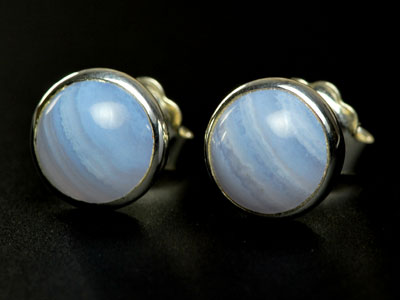 Lovely handmade blue lace agate studs set in sterling silver