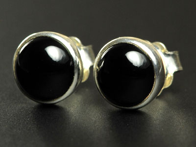 Lovely handmade onyx studs set in sterling silver