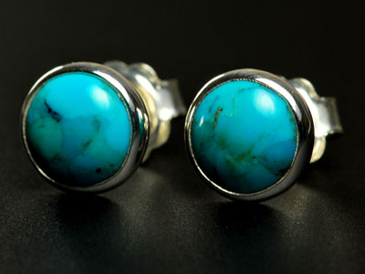 Lovely handmade turquoise studs set in sterling silver
